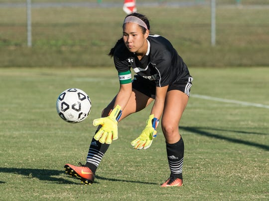 Parkside's Miyuki Schoyen (0) makes a save during a game against North Caroline on Monday, Oct. 2, 2017.
