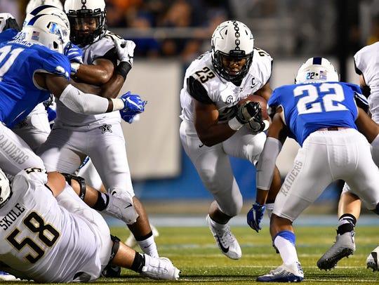 Vanderbilt running back Khari Blasingame (23) gains
