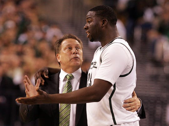 Michigan State head coach Tom Izzo talks with #23 Draymond Green during a time out in the second half. Michigan State lost 52-50 to Butler in the semi final of the Final Four held at Lucas Oil Stadium in Indianapolis on April 3, 2010. ERIC SEALS/Detroit Free Press