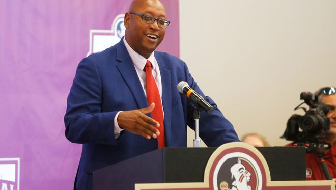 Florida State University Athletic Director Stan Wilcox speaks to the crowd at the FSU Softball Championship Celebration on Friday.