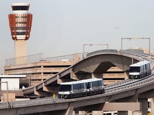 PHX Sky Trains connect Sky Harbor Airport terminals with parking garages and light rail.