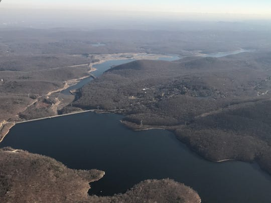 The Monksville Reservoir, foreground, in Ringwood and the Wanaque Reservoir.