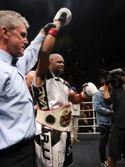 Roy Jones Jr. is announced the winner by decision of the final fight of his career at the Island Fights at the Pensacola Bay Center on Thursday, February 8, 2018.