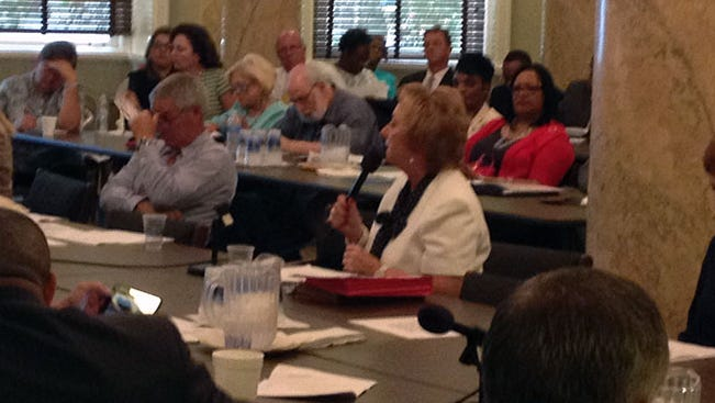 State Superintendent Dr. Carey Wright (center) answers questions.