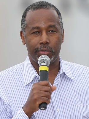 Former neurosurgeon Ben Carson speaks to the crowd at the first ever Roast and Ride, a fundraiser for Iowa senator Joni Ernst, on Saturday, June 6, 2015 at the Central Iowa Expo grounds in Boone.