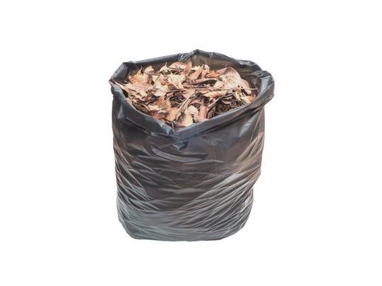 dried leaves in black plastic bag
