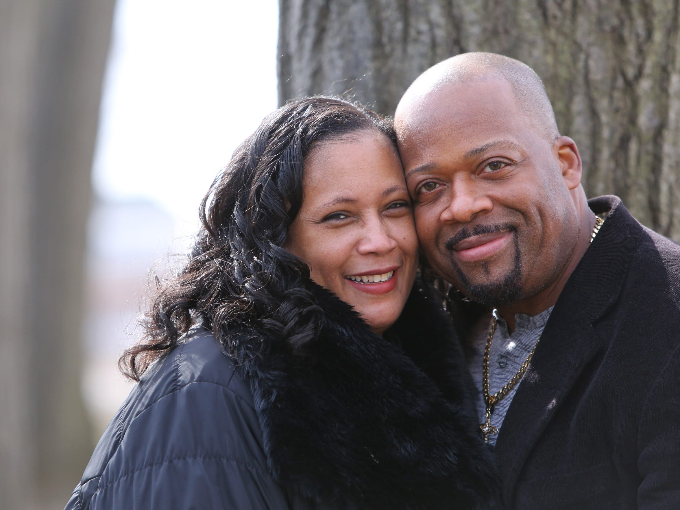 The Johnsons pose at Marist College, where they met while in high school, Feb. 3, 2017.