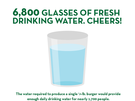 The water required to produce a quarter-pound burger would be enough drinking water for nearly 1,700.
