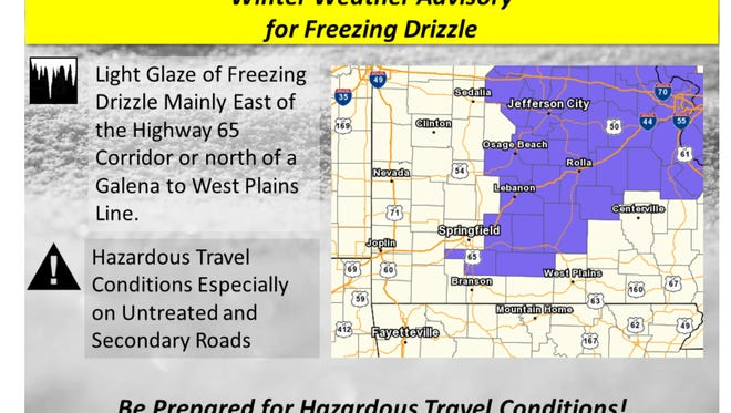 The National Weather Service issued a winter weather advisory for freezing drizzle Monday night.