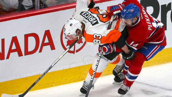 Jake Voracek and the Flyers are hoping to stay in the win column against the Habs, who have lost three straight.