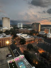 The skyline of Tallahassee as seen from high atop the
