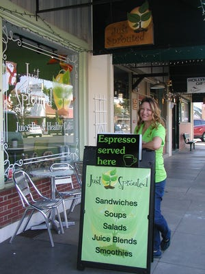 Judy Gibson is owner of a  juice bar and healthy café in Exeter. The place just changed names from Just Sprouted to Just Sprouting Together to emphasize how the business has grown and networked with customers and the community.