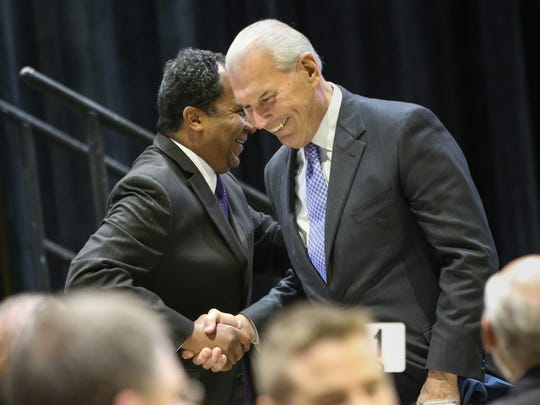 Wilmington Mayor Dennis P. Williams shakes hands with mayoral candidate Mike Purzycki during a luncheon at the Chase Center in to celebrate the 20th anniversary of Riverfront Development Corporation on April 8. Purzycki, who ran the Riverfront group, won the Democratic nomination for mayor over Williams on Tuesday.