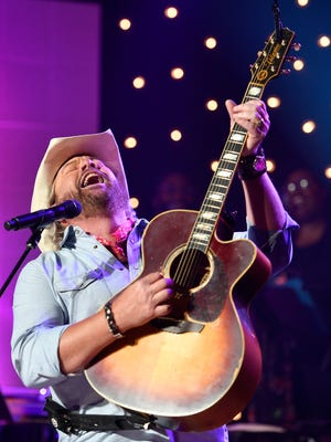 Toby Keith performs at the Jerry Lee Lewis tribute Thursday, Aug. 24, 2017 at Skyville Live in Nashville, Tenn.