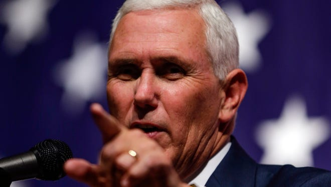 Republican vice presidential nominee Mike Pence spoke during a campaign stop in Council Bluffs, Iowa, on Monday, Aug. 8, 2016.