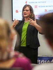 Misty K. Snow speaks at the Michael O. Leavitt Center