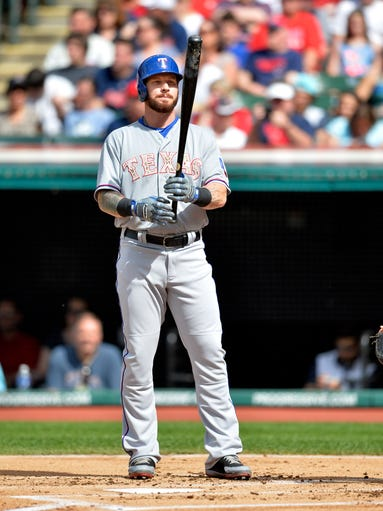 May 25, 2015; Cleveland, OH, USA; Texas Rangers left