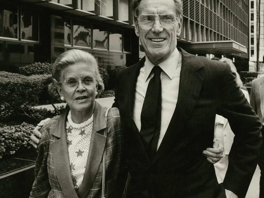 Charles Keating, accompanied by his wife Mary Elaine
