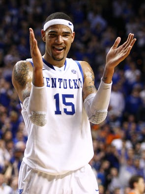 UK forward Willie Cauley-Stein celebrated late in the game with the win at hand. The University of Kentucky Men's Basketball team hosted Florida , Saturday, March 09, 2013 at Rupp Arena in Lexington . Photo by Jonathan Palmer/Special to the Courier-Journal