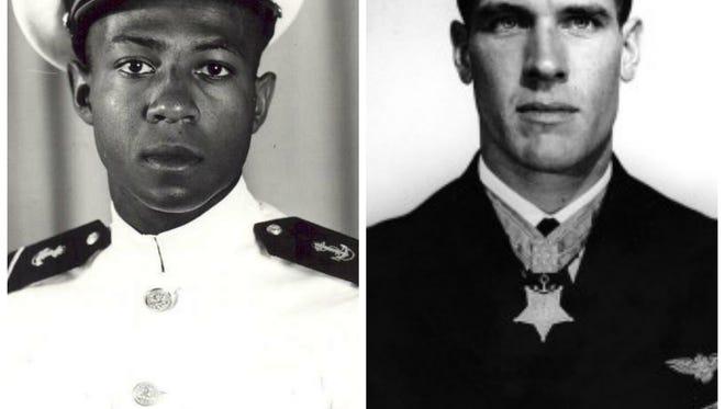 Ensign Jesse Brown, left, and Capt. Thomas Hudner, right.