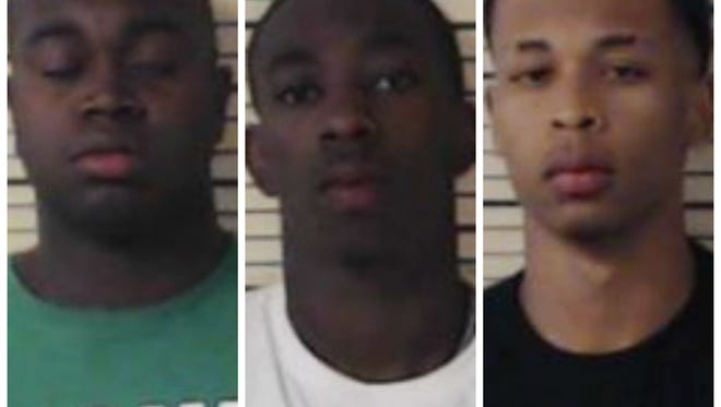 Ezzard McRae, left, George Giles, and Thomas Scott McRae were all arrested in connection with an alleged armed robbery in Madison over the weekend.