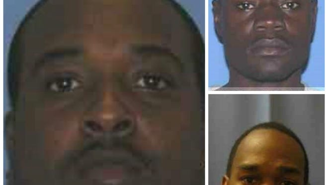 Police are looking for Dushun King (lefT), and have arrested  John Woods (top right) and Broderick Giles (bottom right) in a business burglary.