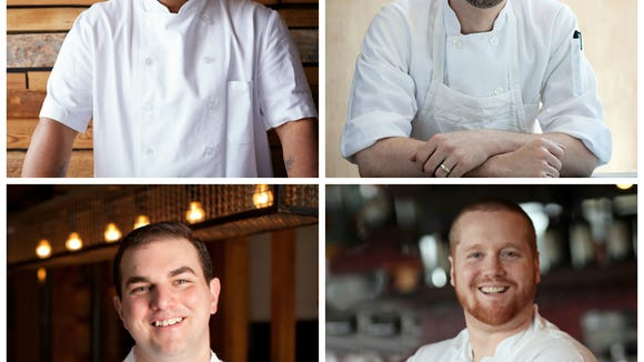 Joining Kevin Sbraga (clockwise from top left) at Dining for Life are Greg Vernick, Brad Spence and Josh Lawler.