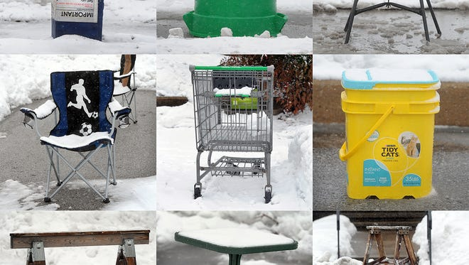 People will use just about anything to reserve a parking spot once they have dug one out. These photos are from 2014.