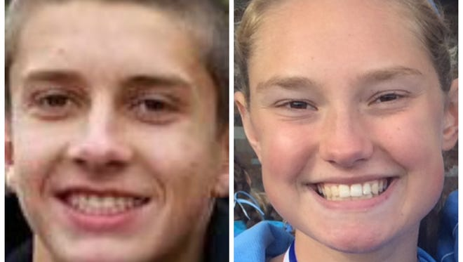 Corunna's Noah Jacobs, left, and Lansing Catholic's Olivia Theis have the top times in the Lansing area this fall.