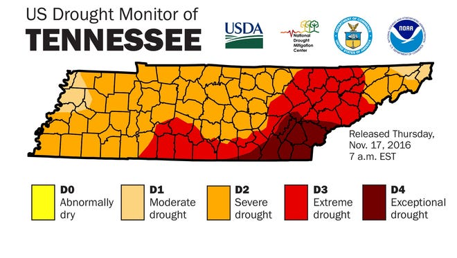 Map of drought in East Tennessee