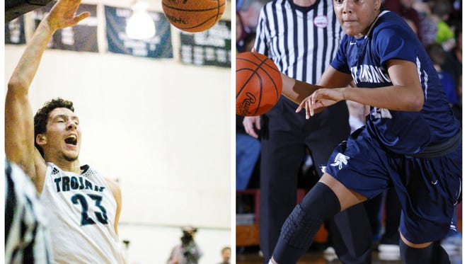East Lansing's Brandon Johns, left, and Jaida Hampton, right, are among the Lansing area's top scorers and rebounders this seasons.