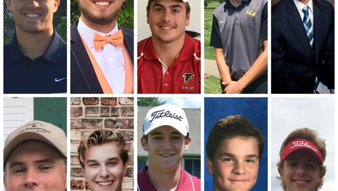 Take a look at the 2017 Lansing State Journal boys golf Dream Team. (Top row, from left to right: Zach Rosendale, Tony Fuentes, Eric Nunn, Parker Jamieson, Brendan Kahl; bottom row, from left to right: Cam Carroll, Lukas Bunting, Zach Pier, Charlie DeLong, Alex Jordan)