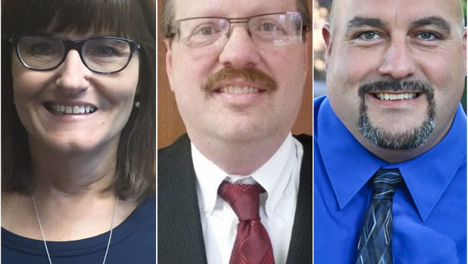 From left, Julie Jennings, Roland Krouski and Rob Strickler are candidates in the Saydel School Board election.