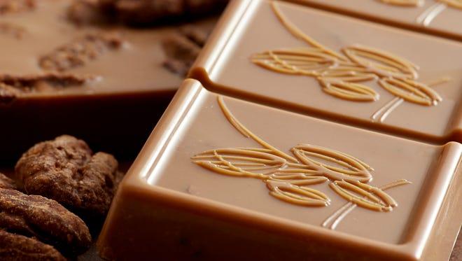 Caramel chocolate bar made by Rawnaissance Desserts.