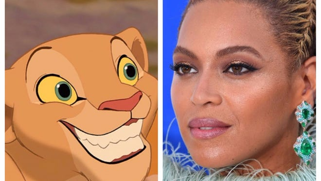 Beyonce, right, has officially been cast as Nala in the live-action 'Lion King.'