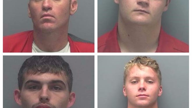 Suspected perpetrators who allegedly burglarized numerous homes in Buckingham (clockwise from top left): Jason Carman, Dustin Day, Philip Harris, Bryce Munson.