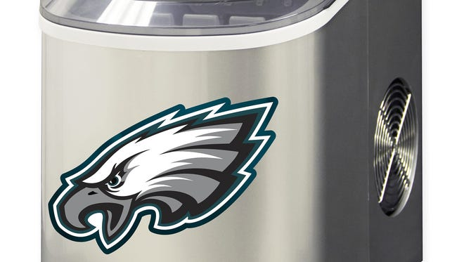 NFL Philadelphia Eagles Portable Ice Maker – Show team spirit and keep drinks perfectly chilled with this portable ice maker. It makes 26 pounds of ice daily, has a push button control and is good for indoor and outdoor use. It costs $299.99 at Bed, Bath and Beyond, and is available online www.bedbathandbeyond.com.