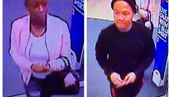 Authorities with the Sparks Police Department released a security photo of two suspects who allegedly used a stolen credit card to make purchases at a local Best Buy store. the photos shows the suspects entering the story on Feb. 21, 2018.