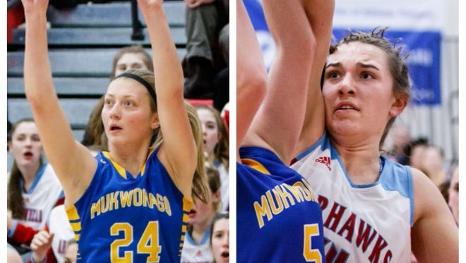 Natalie Andersen of Mukwonago (left) and Caitlyn Harper of Arrowhead were named Co-Players of the Year in the Classic 8 for 2017-18 girls basketball.
