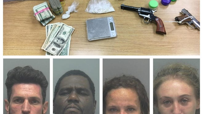 Drugs and guns were found after a narcotics investigation at a North Fort Myers home. Four people were arrested. From left, Mayes, Gloster, Wyant, Berman