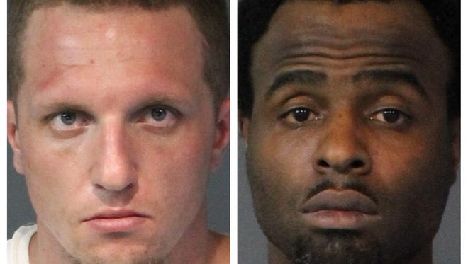 William Corgan, 28, (left) and Corey Dupree, 41, (right) were both arrested April 10, 2018 following a weapons and drug investigation by the Washoe County Sheriff's Office.