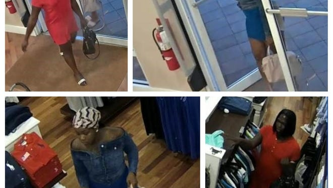Surveillance photos show suspects in an alleged grab and run theft at a Ralph Lauren store at the Miromar Outlets.