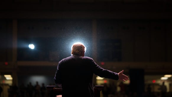 Donald Trump speaks during a campaign rally on Nov.