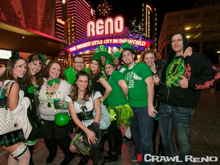 Enter for a chance to win a 5 Crawl Cup Party Pack for the March 11th Reno Leprechaun Crawl. Enter 2/15- 3/5.