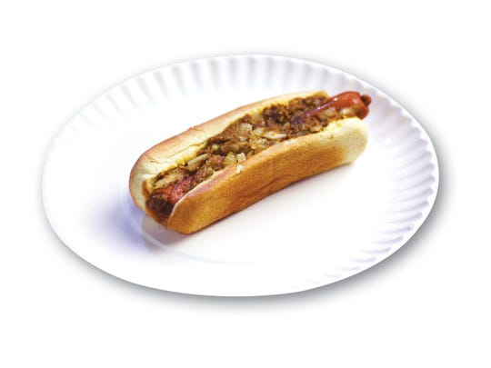 """Photo of Texas Weiner """"all the way"""" from Riverside East in Elmwood Park is seen during the hot dog tasting at The Record in Woodland Park on June 5th, 2017."""