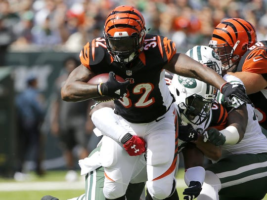 Bengals running back Jeremy Hill scored a touchdown against the New York Jets on Sept. 11.