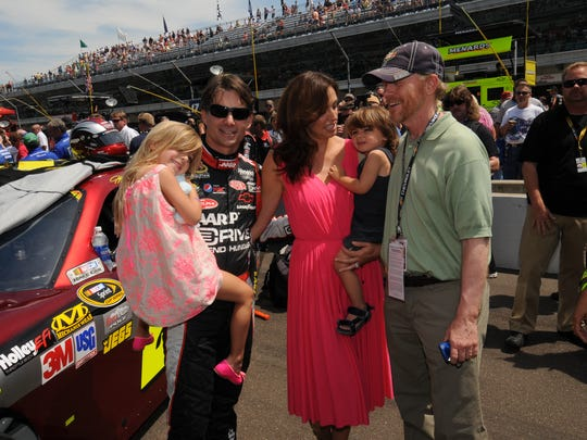 Jeff Gordon with his wife, Ingrid Vandebosch, and their children Ella and Leo  met with Ron Howard in 2012, the year he drove the pace car  for the Brickyard 400 at The Indianapolis Motor Speedway.