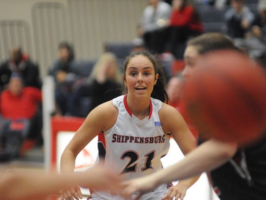 Haley Scullion, of Shippensburg, looks for the ball