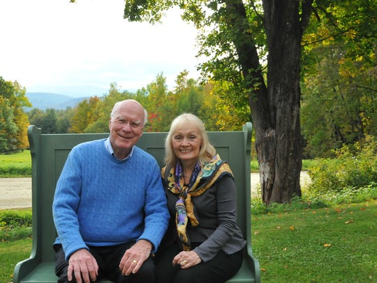 Sen. Patrick and Marcelle Leahy are seated on the bench they used to sit on when the were college students at St. Micheal's. The bench is not placed at the couple's farm in Middlesex. This was the picture the couple sent out on their 2015 holiday greeting card.