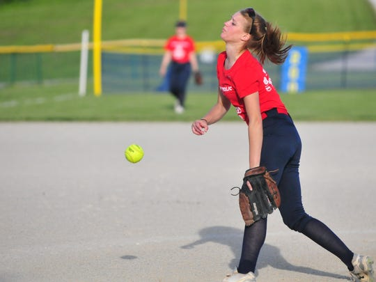 Seton Catholic softball sophomore Taylor Haager throws a pitch during practice at the FOP Diamond Tuesday, May 16, 2017.